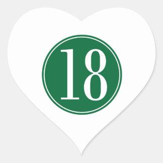 #18 Green Circle Heart Sticker