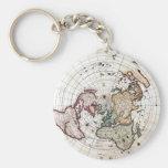 18' mapa polar del siglo del th llavero personalizado