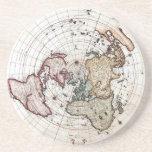 18' mapa polar del siglo del th posavasos para bebidas
