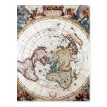 18' mapa polar del siglo del th postal