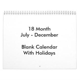 18 meses de calendario en blanco con días de