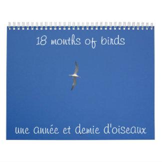 18 meses de pájaros calendarios de pared