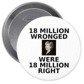 18 millones perjuicios, botón enorme pins