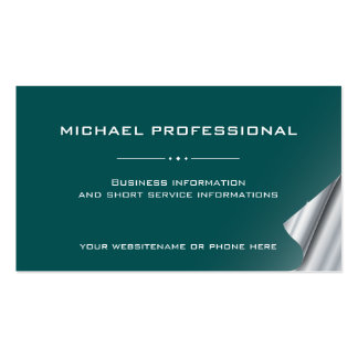 18 Modern Professional Business Card petrol silver