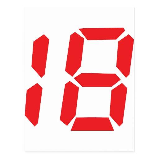 18 número digital del despertador de dieciocho postal