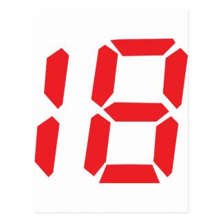 18 número digital del despertador de dieciocho roj tarjetas postales