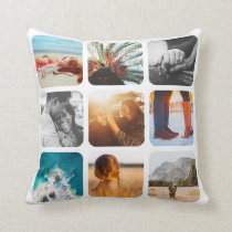18 Photo Double Sided Template Grid White  Frame Throw Pillow