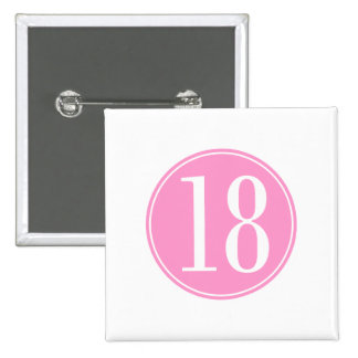 #18 Pink Circle 2 Inch Square Button