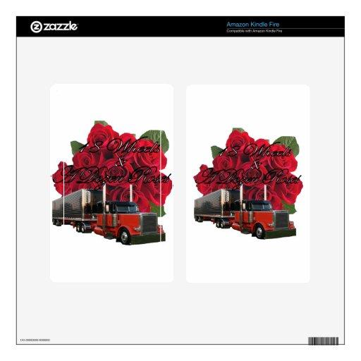 18 ruedas y docena rosas pegatina skin para kindle fire