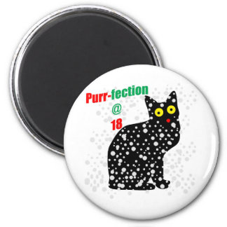 18 Snow Cat Purr-fection 2 Inch Round Magnet