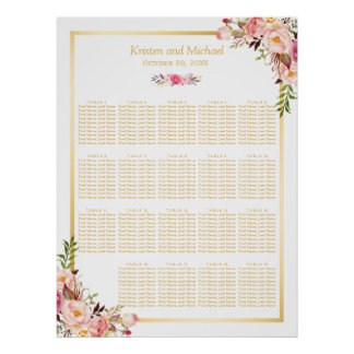 18+ Tables Wedding Seating Chart Floral Gold Frame