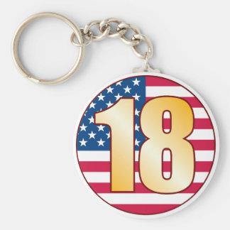 18 USA Gold Basic Round Button Keychain