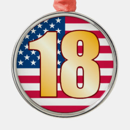 18 USA Gold Metal Ornament