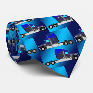 18 Wheeler Truck On Blue Neck Tie