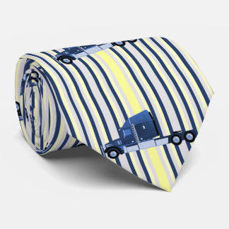 18 Wheeler Truck On Blue Stripe Neck Tie