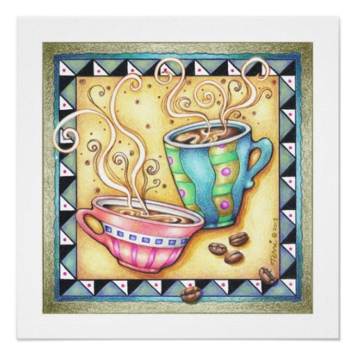 "18""X18"" ARCHIVAL PRINT - COOL BEANS! Coffee Art"