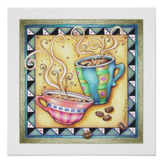 "18""x18"" POSTER - COOL BEANS! Coffee Art"