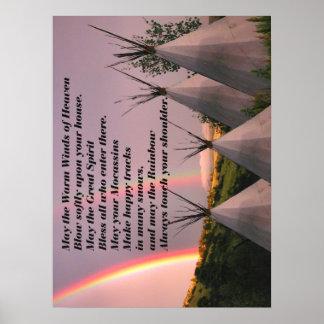 "18""x24"" Canvas Cherokee Blessing Prayer Print Poster"