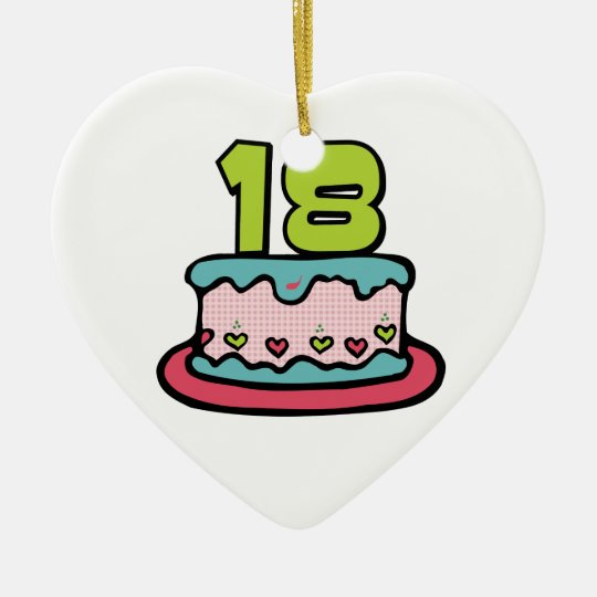 18 Year Old Birthday Cake Ceramic Ornament