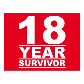 18 year survivor postcard