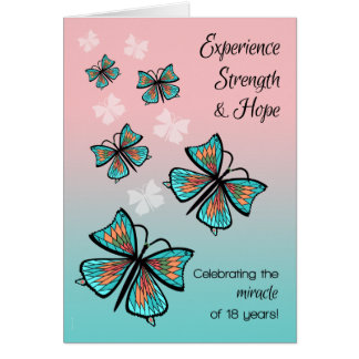 18 Years 12 Step Recovery Clean and Sober Birthday Card