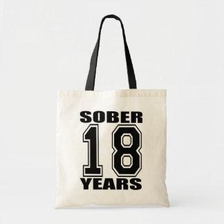 18 Years Sober Black Tote Bag