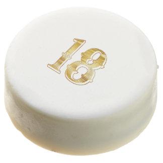 18th Anniversary 18 Birthday Gold White Cookie