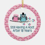 18th Anniversary Owl Wedding Anniversaries Gift Christmas Tree Ornaments