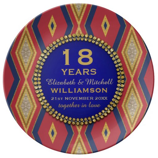 18th Anniversary Porcelain Plate | Red Gold Blue