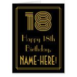 "[ Thumbnail: 18th Birthday: Art Deco Inspired Look ""18"" + Name Card ]"