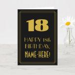 "[ Thumbnail: 18th Birthday – Art Deco Inspired Look ""18"" & Name Card ]"