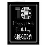 "[ Thumbnail: 18th Birthday — Art Deco Inspired Look ""18"" + Name Card ]"