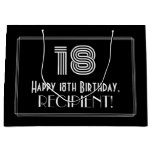 "[ Thumbnail: 18th Birthday — Art Deco Inspired Look ""18"" & Name Gift Bag ]"