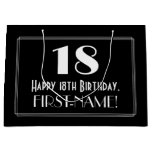 "[ Thumbnail: 18th Birthday: Art Deco Inspired Style ""18"", Name Gift Bag ]"