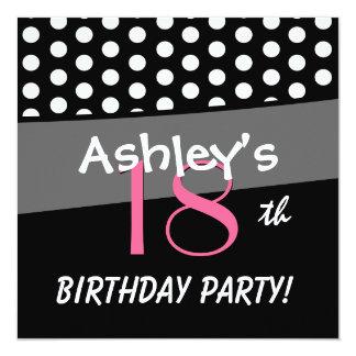 18th Birthday Black White Pink Polka Dots 5.25x5.25 Square Paper Invitation Card