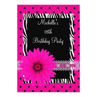 18th Birthday Black White Zebra Pink Spot Flower Personalized Announcements