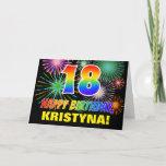 [ Thumbnail: 18th Birthday: Bold, Fun, Fireworks, Rainbow 18 Card ]