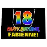 [ Thumbnail: 18th Birthday: Bold, Fun, Simple, Rainbow 18 Gift Bag ]