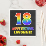 [ Thumbnail: 18th Birthday: Bold, Fun, Simple, Rainbow 18 Napkins ]