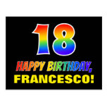 [ Thumbnail: 18th Birthday: Bold, Fun, Simple, Rainbow 18 Postcard ]
