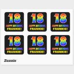 [ Thumbnail: 18th Birthday: Bold, Fun, Simple, Rainbow 18 Sticker ]