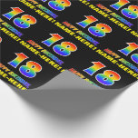 [ Thumbnail: 18th Birthday: Bold, Fun, Simple, Rainbow 18 Wrapping Paper ]