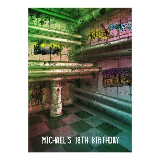 18th Birthday Boys Mens Urban Street Art Grunge 5x7 Paper