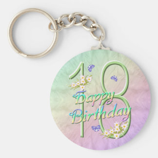 18th Birthday Butterfly Garden Keychain