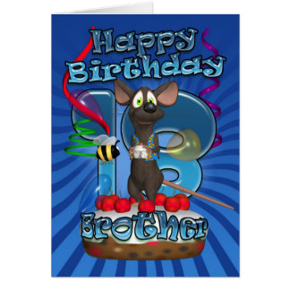 18th Birthday Card For Brother - Funky Mouse On A