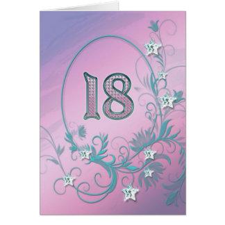 18th Birthday card with diamond stars