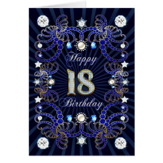 18th birthday card with masses of jewels