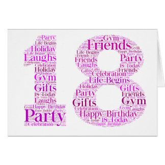18th Birthday Celebration Word Art Design Greeting Card