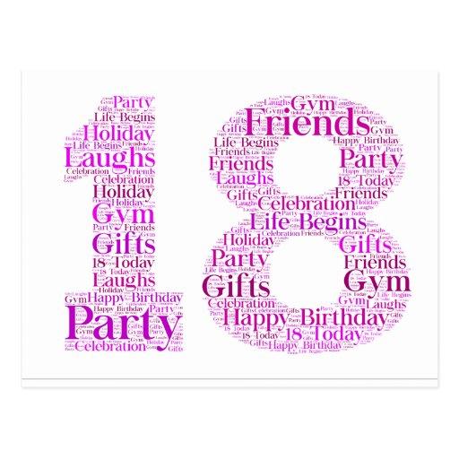 18th Birthday Celebration Word Art Design Postcard