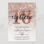 """18th Birthday Champagne Glitter Invitation<br><div class=""""desc"""">Invite family and friends to celebrate 18th Birthday with these chic girly invitations. Design featuring champagne sparkly glitter texture,  eighteen in trendy handwritten script in black and rose gold color. Personalize with your details in block capital lettering.</div>"""